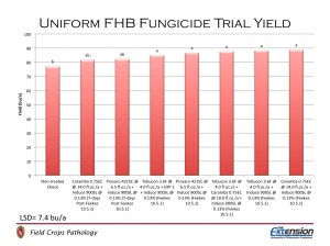 Figure 8.  Yield of wheat plots treated with fungicide programs.